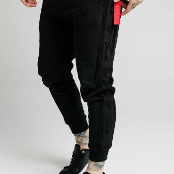 Tepláky SikSilk - Fitted Suede Flock Cuff Pants - Čierne
